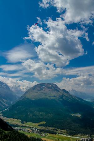 paraglider: Paraglider in Ingadin, Switzerland