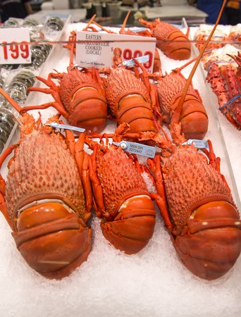 tonnes: SYDNEY, AUSTRALIA - APRIL 9, 2015:  Lobster on the Sydney Fish Market. 52 tonnes of seafood are selling at auction on this market every day. Editorial