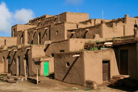 Taos, USA - July 27, 2008: Ranchos de Taos in New Mexico. Pueblo belonging to a Tiwa-speaking Native American tribe of Pueblo people. Editorial