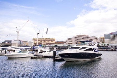 darling: SYDNEY, AUSTRALIA - APRIL 9, 2015: Boats at Darling Harbour in Sydney, Australia. Darling Harbour is home to a number of major public facilities and attractions