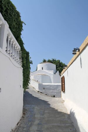 lindos: Small church in Lindos, Greece Stock Photo