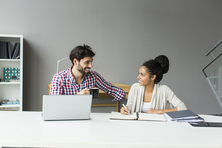 busy beard: Young people in the office Stock Photo
