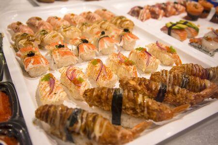 mariscos: Mariscos en el Sydney Fish Market. 52 toneladas de pescados y mariscos se venden en una subasta en este mercado todos los días. Foto de archivo