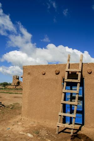 Ranchos de Taos in New Mexico. Pueblo belonging to a Tiwa-speaking Native American tribe of Pueblo people. Stock Photo