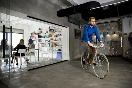 bycicle: Businessman on the bycicle