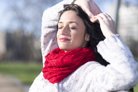 red scarf: Young woman with red scarf