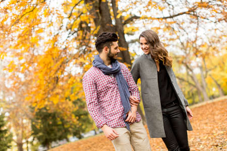 couple amoureux: Young couple in the autumn park