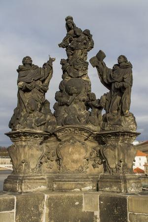 thomas stone: Statue of the Madonna, St. Dominic and Thomas Aquinas on Charles bridge in Prague