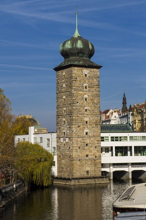vltava: Sitkovska water tower on Vltava river in Prague Stock Photo