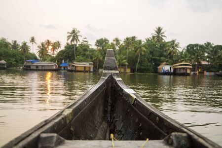 kerala backwaters: Boat at backwaters of Kerala, India Stock Photo
