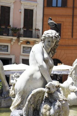 obelisk stone: Fountain of four rivers at Piazza Navona in Rome