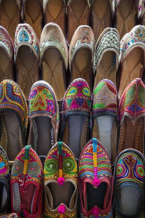 Colorful shoes on bazar in Mumbai, India Stock Photo