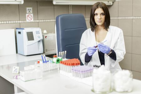 medical laboratory: Young woman in the medical laboratory Stock Photo