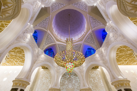 abu dhabi mosque: ABU DHABI, UAE - MAY 4, 2015: Interior of Sheikh Zayed Mosque in Abu Dhabi. Mosque was designed by Yusef Abdelki and opened at 2007. Editorial