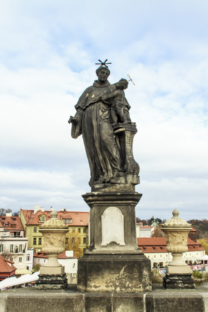 st charles: Statue of St. Anthony of Padua on Charles Bridge in Prague, Czech Republic