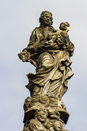 st charles: Statue of Madonna and St. Bernard at Charles bridge in Prague, Czech Republic Stock Photo