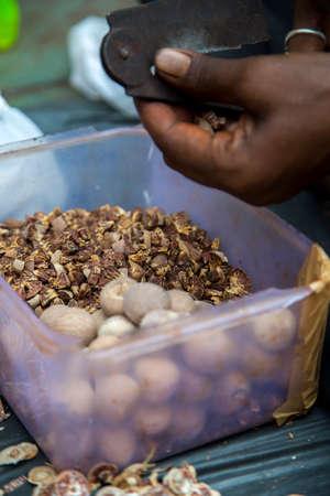 man nuts: Man cutting betel nuts on the street of Mumbai, India