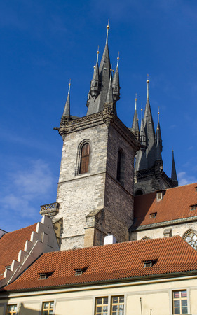 house of god: Church of Mother of God before Tyn in Prague, Czech Republic Stock Photo