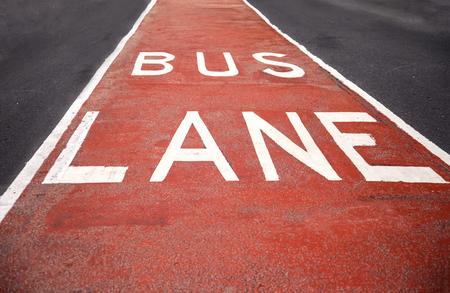 a public notice: Closeup of the bus lane sign at Sydney, Australia Stock Photo