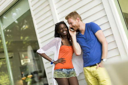 young adults: Multiracial loving couple