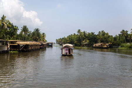 backwaters: Backwaters in Kerala, India. The backwaters are an extensive network of 41 west flowing interlocking rivers, lakes and canals that center around Alleppey, Kumarakom and Punnamada. Editorial