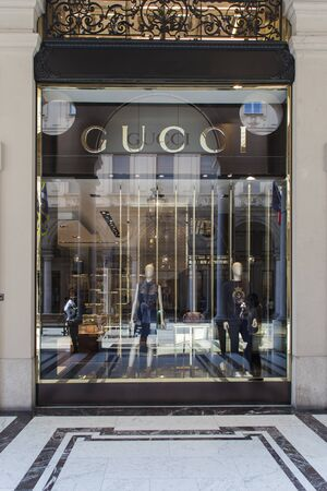 TURIN, ITALY - JUNE 3, 2015: Gucci shop in Turin, italy. Gucci is an Italian fashion and leather goods brand founded at 1921.