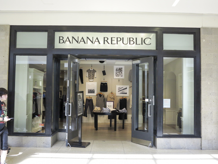 retailer: ALBERTA, CANADA - SEPTEMBER 21, 2014: Banana Republic store in Alberta, Canada. Banana Republic is a clothing and accessories retailer founded at 1978. Editorial