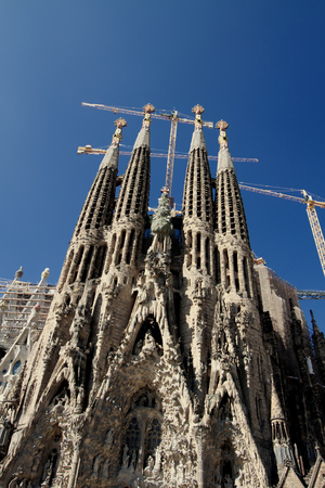 uncomplete: View of Sagrada Familia church in Barcelona, Spain. Construction of Sagrada Familia had started in 1882 and an anticipated completion date is at 2026.