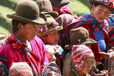 sacred valley of the incas: PISAC, PERU - MARCH 5, 2006: Unidentified people at Inca citadel in Sacred Valleyl near Pisac in Peru. Sacred Valley of the Incas is a valley in the Southern Sierra that contains many famous and beautiful Inca ruins