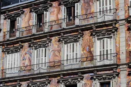 decorative balconies: Exterior of the Casa de la Panader�a at Plaza Mayor in Madrid