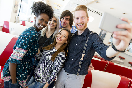 diner: Young people taking selfie in the diner Stock Photo