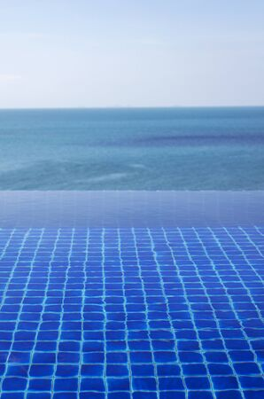 waterpool: Water surface of the pool at the seaside Stock Photo