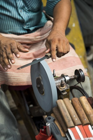 sharpening process: Sharpening knives