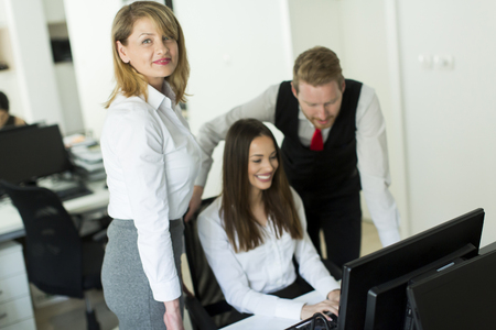 workteam: Group of people working in the modern office Stock Photo