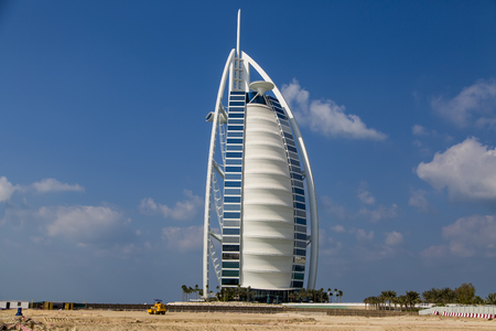 m hotel: DUBAI, UAE - JANUARY 16, 2014: View of hotel Burj al Arab in Dubai. At 321 m, it is the fourth tallest hotel in the world and has 202 rooms. Editorial