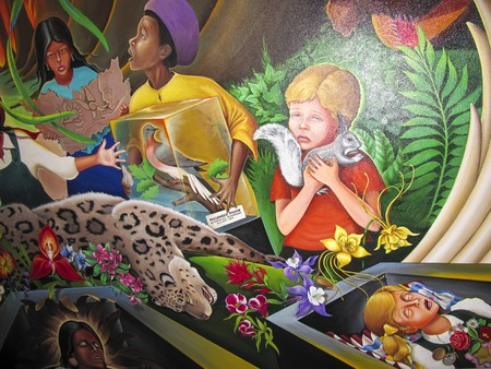 ten best: DENVER, USA, JULY  26, 2008:  Children of the World Dream of Peace mural by Leo Tanguma at Denver International airport. DIAs Art Collection was honored for ten best airports for public art in the US