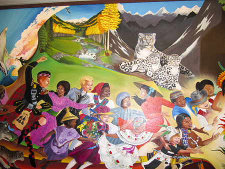ten best: DENVER, USA, JULY  26, 2008:  In Peace and Harmony with Nature mural by Leo Tanguma at Denver International airport. DIAs Art Collection was honored for ten best airports for public art in the US