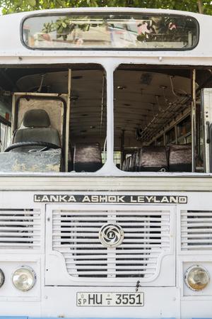 galle: GALLE, SRI LANKA - JANUARY 24, 2014: Lanka Ashok Leyland bus on the street of Galle, Sri Lanka. Lanka Ashok Leyland is Joint venture with Ashok Leyland, second largest commercial vehicle manufacturer in India