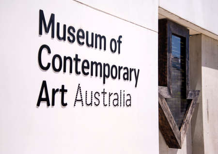 solely: SYDNEY, AUSTRALIA - FEBRUARY 12, 2015: Detail of Museum of contemporary art in Sydney, Australia. It is an Australian museum solely dedicated to exhibiting, interpreting and collecting contemporary art.
