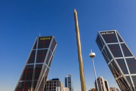inclined: MADRID, SPAIN - MARCH 16, 2016: Puerta de Europa towers, they were built in 1996 and they are the first inclined skyscrapers in the world. Editorial
