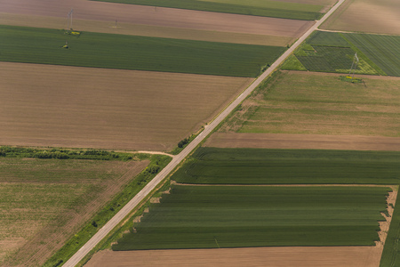 rural development: Aerial view of a green rural area in Vojvodina, Serbia Stock Photo