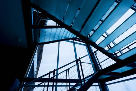 dim light: View of the modern staircase in a dim light