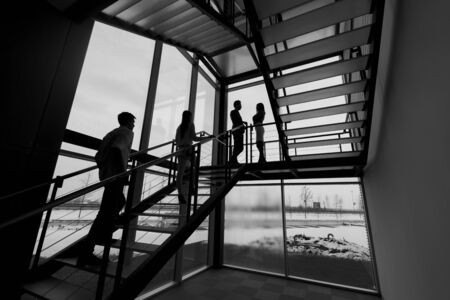 building silhouette: Business people circulating on the stairs at the office