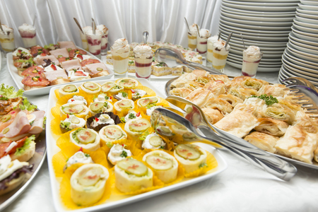 View at various food on the table, a lot of cold snacks on buffet table, catering Stock Photo