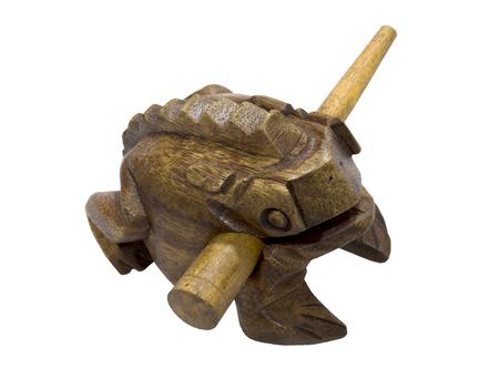 wooden handmade: Wooden handmade frog  talisman made in Thailand Stock Photo