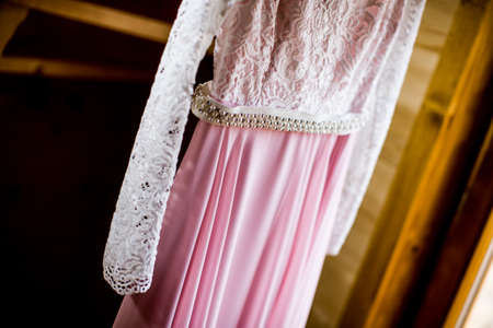 frill: Closeup of the detail on a wedding dress Stock Photo
