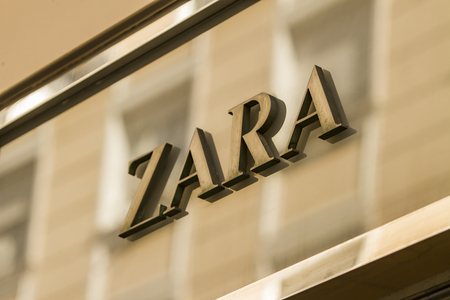 retailer: MADRID, SPAIN - MARCH 17, 2016: Zara sign in Madrid. Zara is Spanish clothing and accessories retailer.