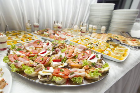 View at various food on the table, a lot of cold snacks on buffet table, catering