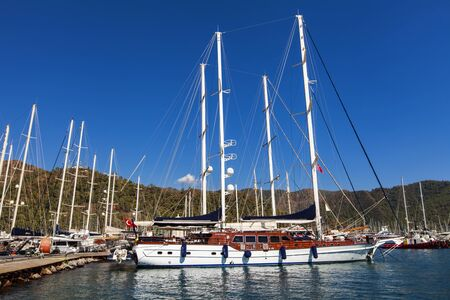 cruiseliner: MARMARIS, TURKEY - SEPTEMBER 15, 2014: Yachts in the Marmaris port in Mugla province in Turkey. At 2013 more than 3 million tourists visited Mugla province.
