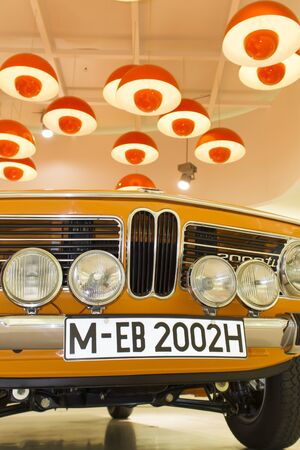manufacturer: MUNICH, GERMANY - JUNE 27, 2013: BMW car on a display at the BMW Museum in Munich, Germany. Museum was established in 1972 and deals with the history of the automobile manufacturer BMW.